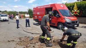 Bracciano: cade in un tombino, cagnolino salvato dai vigili del fuoco